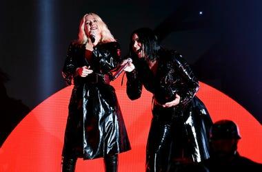 Christina Aguilera (L) and Demi Lovato preform onstage during the 2018 Billboard Music Awards