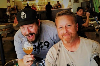 DJ Jeremy and Colby Chandler at Ballast Point with a keg of Grinner IPA