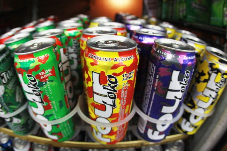 Cans of Four Loko are seen in the liquor department of a Kwik Stop store on October 27, 2010 in Miami, Florida. The Food and Drug Administration is reviewing whether the drinks are safe for consumers after complaints that the fruit flavored malt beverage