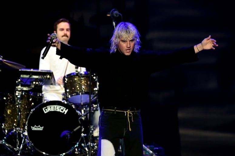 Spencer Cross (L) and Judah Akers of Judah & The Lion perform onstage during KROQ Almost Acoustic Christmas 2017