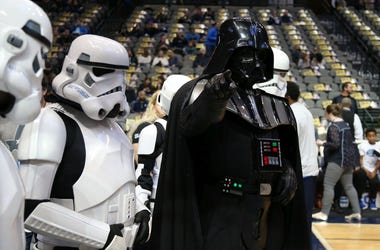 Dec 9, 2016; Dallas, TX, USA; Darth Vader and his Stormtroopers are in attendance for the game with the Dallas Mavericks playing against the Indiana Pacers for Star Wars night at American Airlines Center. Mandatory Credit: Matthew Emmons-USA TODAY Sports