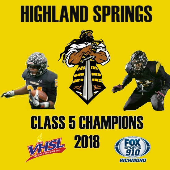 Highland Springs defeated Stone Bridge 37-26 to win its fourth straight VHSL championship