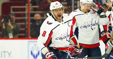 Alex Ovechkin of the Washington Capitals reacts after scoring a goal in Game 6 of a first-round NHL playoff series against the Carolina Hurricanes.