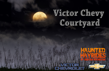 Spooky courtyard with victor chevy logo