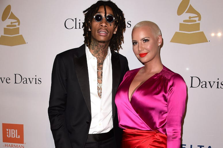 Wiz Kalifa and Amber Rose at the 2017 Clive Davis Pre-Grammy Gala at the Beverly Hilton Hotel on February 11, 2017 in Beverly Hills, California.