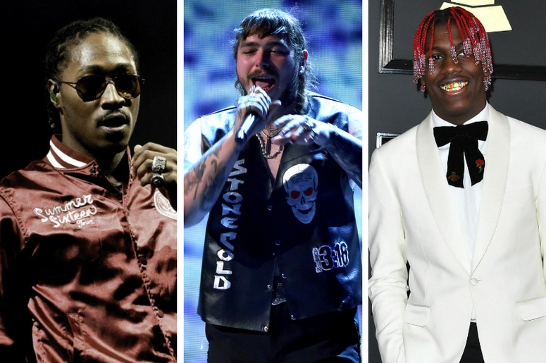 Future performs at American Airlines Arena. / Post Malone performs onstage at the 2017 BET Awards / Lil Yachty arrives at the 59th Annual Grammy Awards