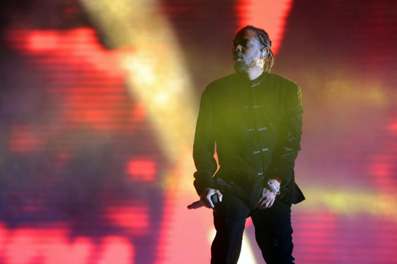 Kendrick Lamar performs during the Coachella Valley Music and Arts Festival at Empire Polo Club.