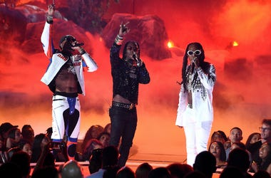 Quavo, Offset and Takeoff of Migos perform at the 2017 BET Awards on June 25, 2017 in Los Angeles, California.