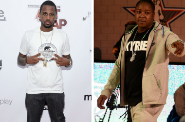 Fabolous attends the 'Something From Nothing: The Art Of Rap' New York Screening at Alice Tully Hall, Lincoln Center on June 12, 2012 in New York, NY. / Jadakiss is introduced as a judge for the Sprit Slam Dunk Showdown at Skylight at Moynihan Station.