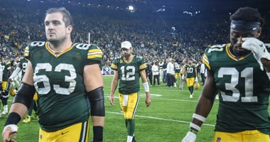 Sep 26, 2019; Green Bay, WI, USA; Green Bay Packers quarterback Aaron Rodgers (12) walks off the field after the Packers were defeated by the Philadelphia Eagles at Lambeau Field.