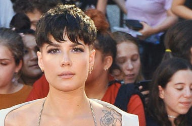 Halsey arrives at the 2018 Music Video Awards.