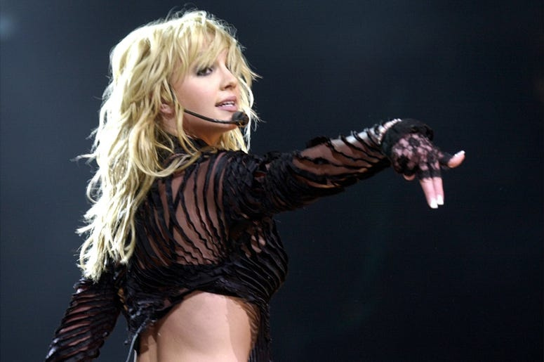 Britney Spears performs at the First Union Center in Philadelphia, Pennsylvania