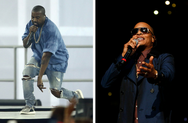 Kanye West performs during the closing ceremony for the 2015 Pan Am Games / T.I. performs at halftime of a game between the Atlanta Hawks and Cleveland Cavaliers