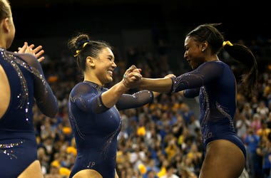 UCLA Gymnast Nia Dennis in competition