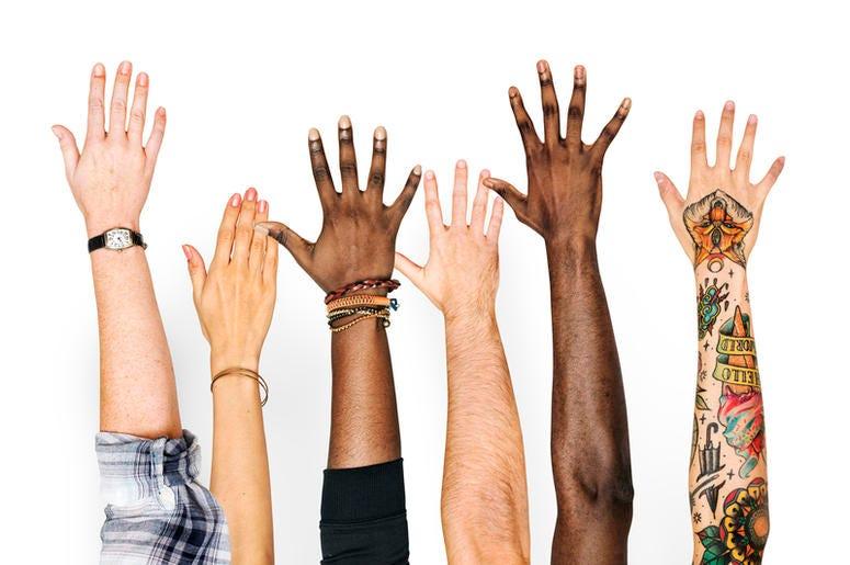 Diversity Hands Raised Up