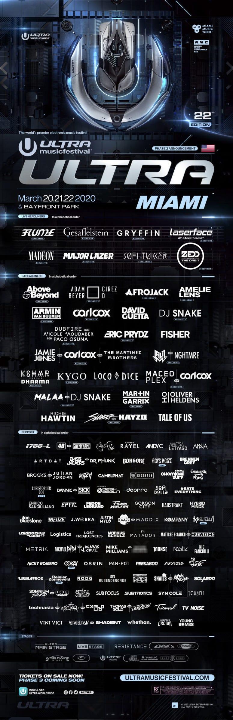 @Ultra Miami Line Up