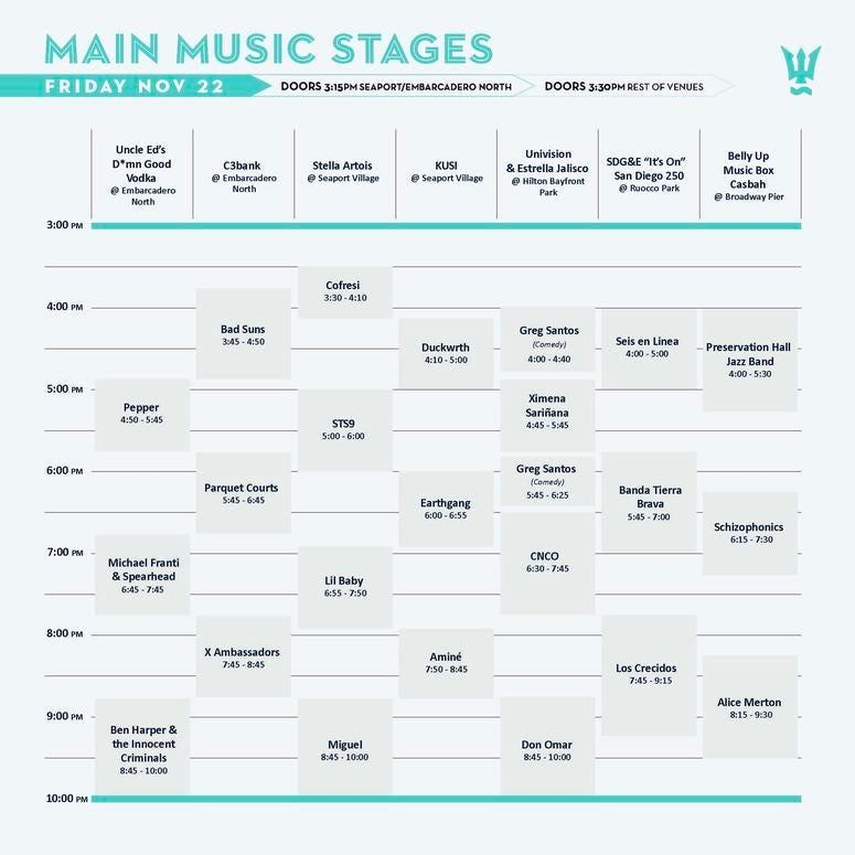 Wonderfront Friday Day 1 - Main Stage Line Up