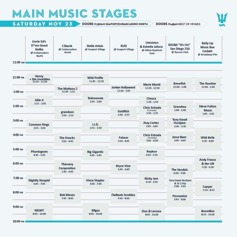 Saturday, Day 2 of festival Main Music Stages: