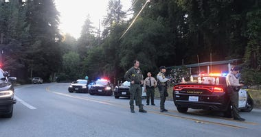 Squad cars outside of an active scene in Santa Cruz County.