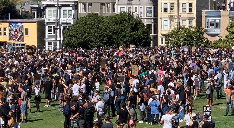 Student organized protest for George Floyd at Mission High School in San Francisco, June 3, 2020