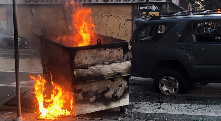 A second dumpster burns at a San Jose protest over the death of George Floyd.