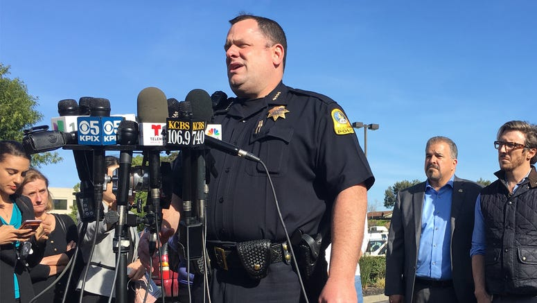 San Bruno Police Chief Ed Barberini addressing reporters near YouTube headquarters