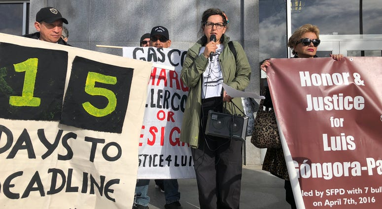 Protest for Luis Góngora Pat at SF Hall of Justice