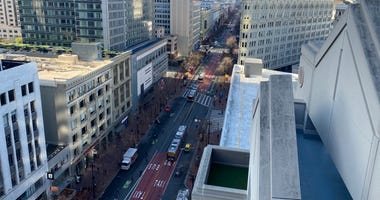 A view of Market Street on Jan. 29, 2020 as drivers adapt to the new car-free regulations.