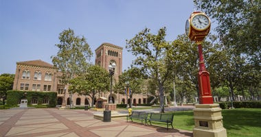 Los Angeles, JUN 4: Old clock and Bovard Aministration, Auditorium of the University of Southern California on JUN 4, 2017 at Los Angeles