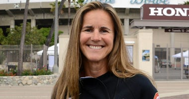 May 10, 2017; Pasadena CA, USA; Brandi Chastain poses at the Rose Bowl. The Rose Bowl is the proposed soccer venue for the 2024 Los Angeles Olympics bid. Mandatory Credit: Kirby Lee-USA TODAY Sports