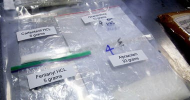 Sep 8, 2017; New York, NY, USA; Packages containing Fentanyl and the even more lethal Carfentanil are stored in the detention room at the JFK International Airport Mail Facilities Federal Inspection Site after being discovered by U.S. Customs and Border P