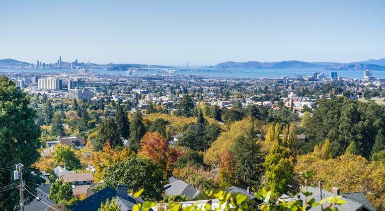 View of the San Francisco Bay from a residential area in Oakland