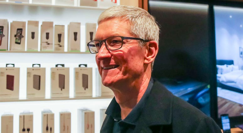 March 27, Chicago, IL, USA; Apple chief executive officer Tim Cook makes an appearance at Chicago's Michigan Avenue Apple Store after an Apple's education-focused event at Lane Technical College Preparatory High School. Mandatory Credit: Rodney White-USA