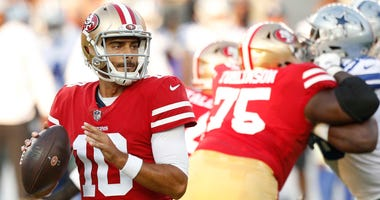 Aug 9, 2018; Santa Clara, CA, USA; San Francisco 49ers quarterback Jimmy Garoppolo (10) looks to throw a pass against the Dallas Cowboys in the first quarter at Levi's Stadium. Mandatory Credit: Cary Edmondson-USA TODAY Sports