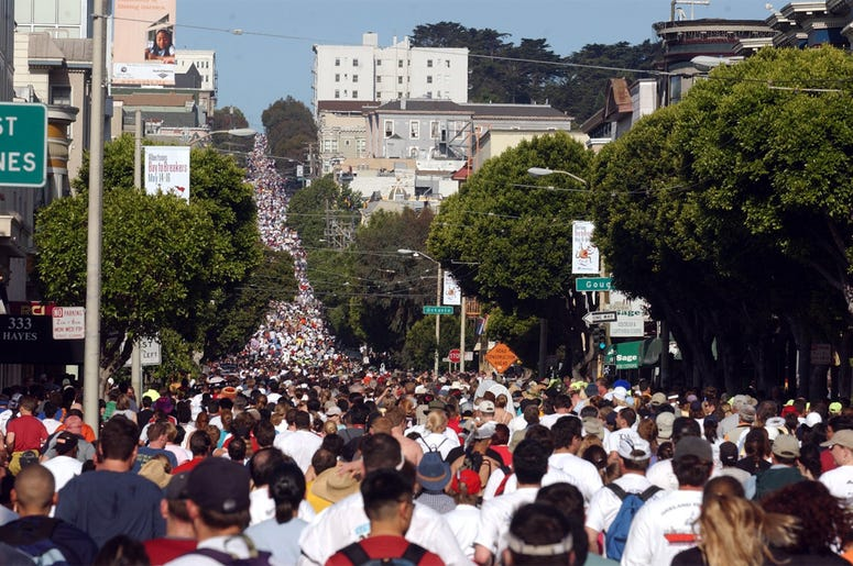 SAN FRANCISCO, CA -- A sea of humanity makes its way up Hayes Street during the Bay to Breakers race in San Francisco, California, on May 16, 2004. (Photo by cdm) 2004