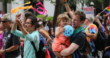 People participate in the annual LGBT Pride Parade in San Francisco, the United States, June 28, 2015. Local people gathered here on Sunday to celebrate the lesbian, gay, bisexual and transgender community. The U.S. Supreme Court on Friday ruled that ther