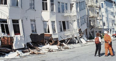 SAN FRANCISCO - OCTOBER 17: General view of the Marina district disaster zone after an earthquake, measuring 7.1 on the richter scale, rocks game three of the World Series between the Oakland A's and San Francisco Giants at Candlestick Park on October 17,