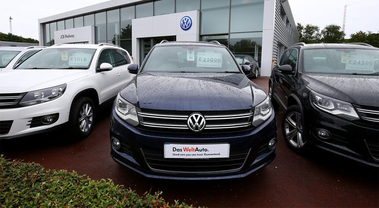 9/22/2015 - Volkswagen cars for sale at a dealership in Ashford, Kent, as the company says 11 million vehicles worldwide are involved in a scandal surrounding emissions. (Photo by PA Images/Sipa USA)