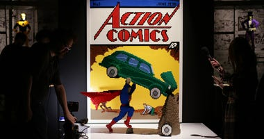 A model of the cover of Action Comics No. 1, featuring Superman, during the press preview for The Art of the Brick: DC Super Heroes Lego exhibition - which has over 120 works, created with more than 2 million LEGO bricks - at the South Bank, London. (Phot