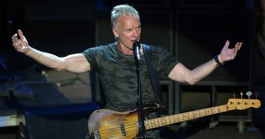 (180623) -- ATHENS, June 23, 2018 (Xinhua) -- British singer Sting performs during his solo concert at Odeon of Herodes Atticus under Acropolis foot in Athens, Greece, June 22, 2018. Sting's concert is part of the Athens Epidaurus Festival 2018. (Xinhua/M