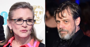 """7/29/2018 - File photos of Carrie Fisher and Mark Hamill as Hamill has said it is """"bittersweet"""" facing his final Star Wars chapter without his co-star. (Photo by PA Images/Sipa USA)"""