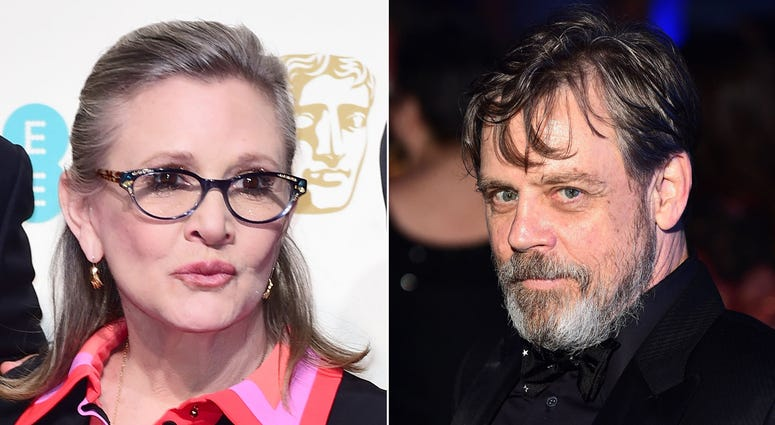 "7/29/2018 - File photos of Carrie Fisher and Mark Hamill as Hamill has said it is ""bittersweet"" facing his final Star Wars chapter without his co-star. (Photo by PA Images/Sipa USA)"