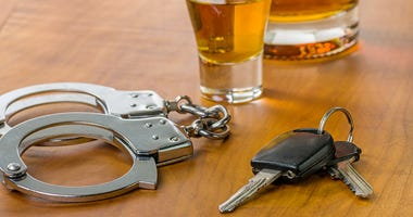 DUI / Glass with car keys and handcuffs