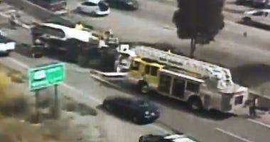 An overturned truck on I-580 in San Rafael caused major traffic problems on the Richmond-San Rafael Bridge on June 26, 2019.