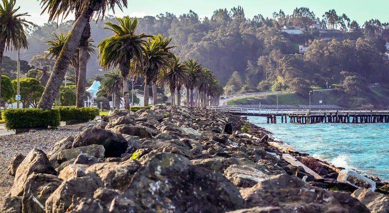 The stone breaker wall on Treasure Island in the San Francisco Bay (Photo credit: Troy Sappington)