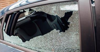 Broken window. Glass, damage. Car break-in