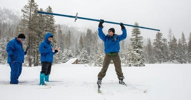 Workers with the state Department of Water Resources recorded a below average measurement of the state's snowpack on Jan. 30, 2020.
