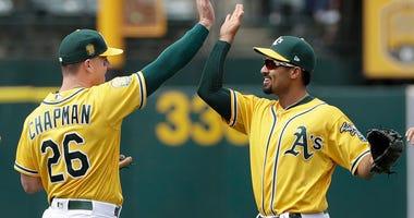 Oakland Athletics third baseman Matt Chapman, left, celebrates with shortstop Marcus Semien