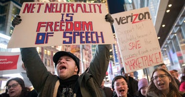 Demonstrators rally in support of net neutrality