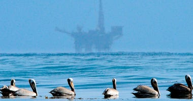 FILE - In this May 13, 2010 file photo, pelicans float on the water with an offshore oil platform in the background in the Santa Barbara Channel off the coast of Santa Barbara, Calif. Oil and gas companies drilling off the coast of Southern California vio